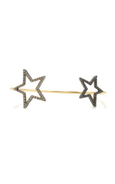 Double Star 18k Gold Diamond Bangle