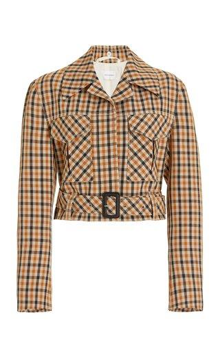 Kalimba Cropped Checked Wool-Blend Jacket