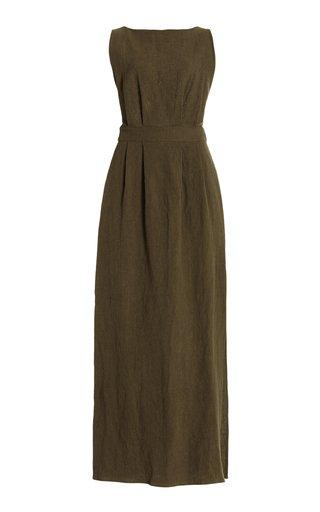 Backless Textured Linen Maxi Dress