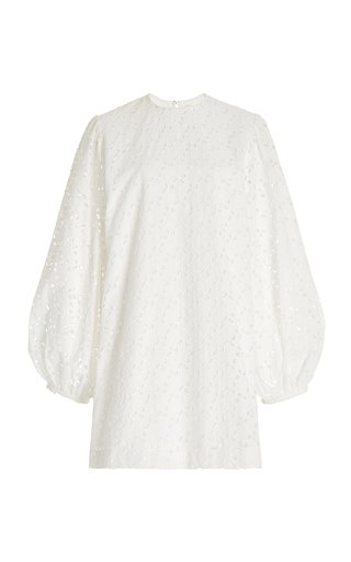 Embroidered Eyelet Cotton Mini Dress