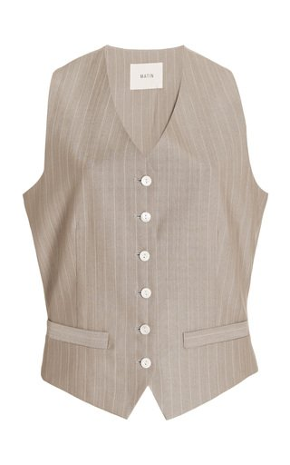 Pinstriped Wool Vest