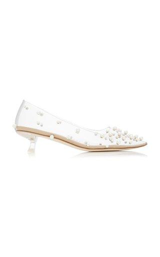 Roxy Pearl-Embellished PVC Kitten-Heel Pumps