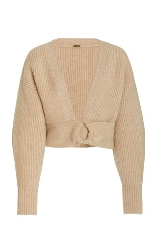 Tully Ribbed-Knit Cropped Wrap Sweater