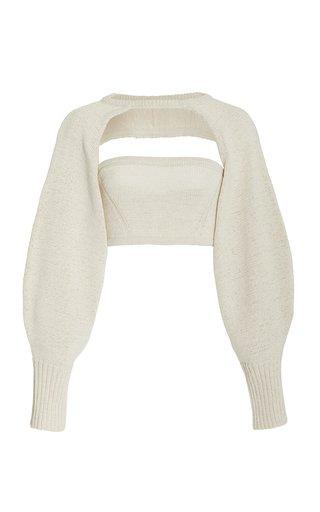 Sally Cropped Cotton-Blend Knit Top Set
