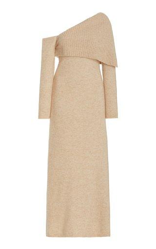 Lydia Asymmetric Knit Off-The-Shoulder Maxi Dress