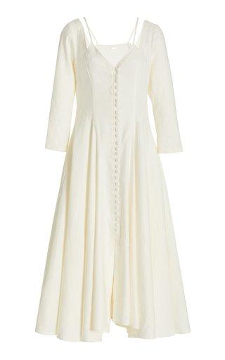 Kiara Button-Front Linen-Blend Midi Dress