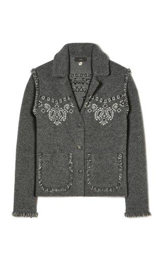 Bandana Printed Fringed Knit Jacket