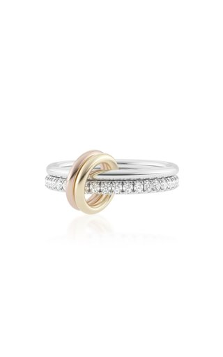 Marigold Sterling Silver, 18K Yellow and Rose Gold Diamond Ring