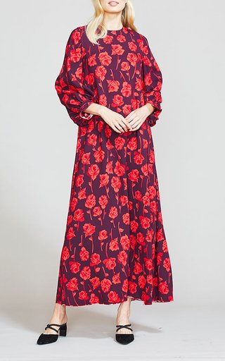 Double-Faced Rose Printed Crepe Dress