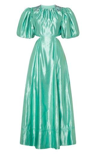 Relic Embellished Linen-Blend Open-Back Midi Dress