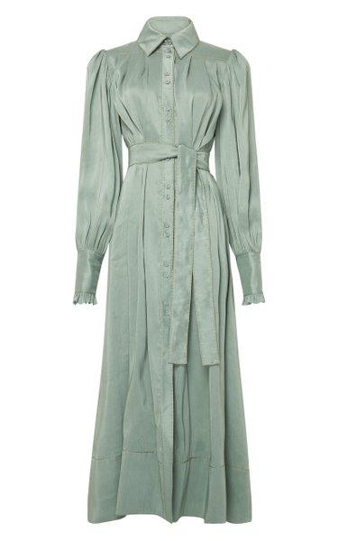 Idealist Belted Linen-Silk Shirt Dress