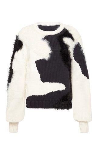 Dominique Wool-Silk Jacquard-Knit Sweater