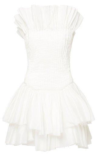 Utopia Pin-Tucked Linen-Blend Mini Dress