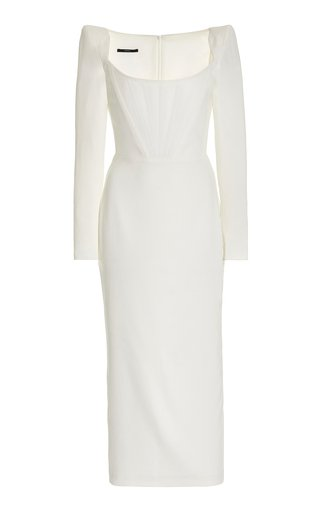 Exclusive Leigh Corseted Satin-Crepe Midi Dress