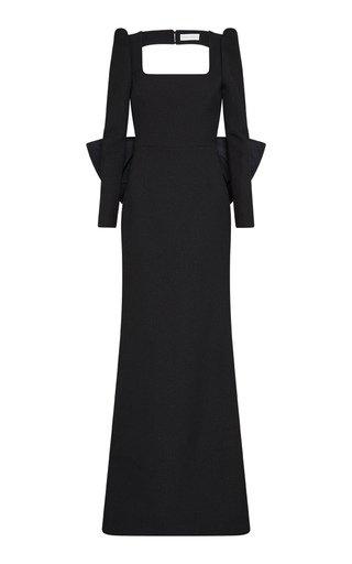 Monique Open-Back Crepe Gown