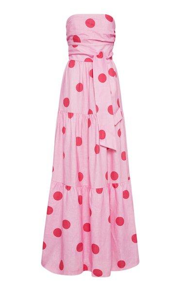 Dalia Polka Dot-Printed Linen Dress