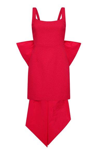 Calla Bow-Detailed Crepe Mini Dress