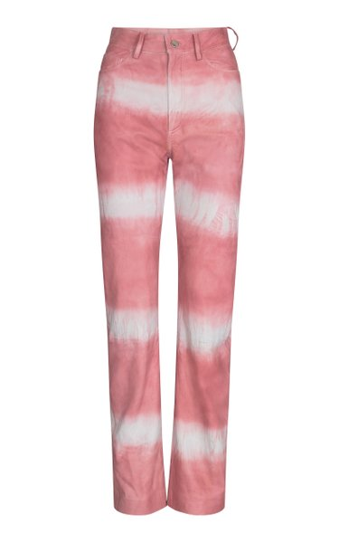 Lynn Tie-Dye Leather Straight-Leg Pants