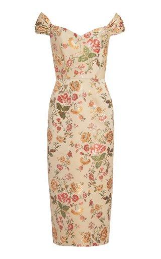 Apollonia Brocade Off-The-Shoulder Midi Dress