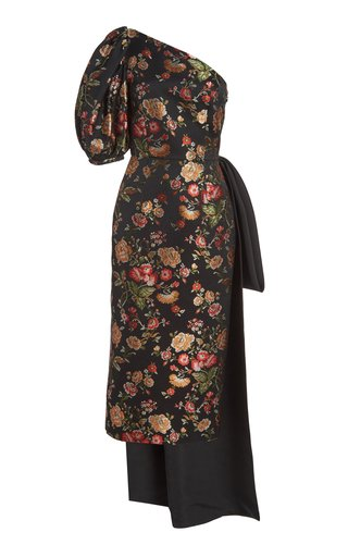 Drusa Drape-Detailed Brocade One-Shoulder Midi Dress