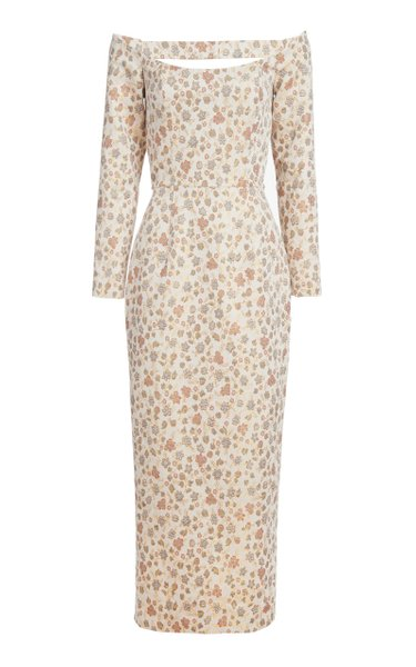 Myrrha Brocade Cotton-Blend Off-The-Shoulder Midi Dress