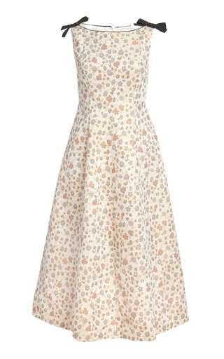 Thetis Bow-Embellished Floral Cotton-Blend Midi Dress