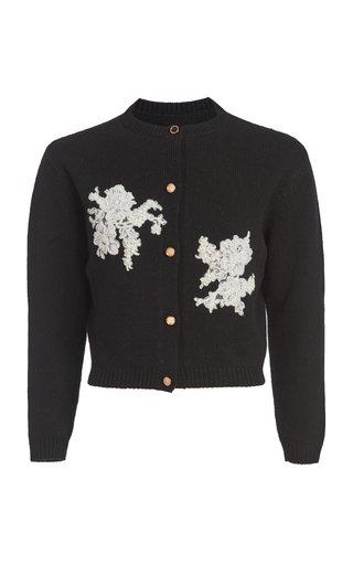 Medea Lace-Appliqued Cashmere-Wool Cardigan