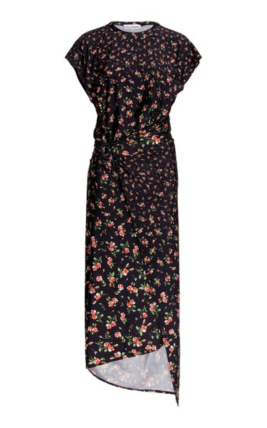 Ring-Detailed Draped Floral Stretch-Jersey Midi Dress