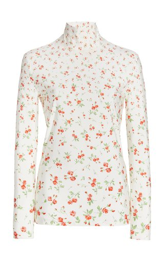 Rosebud-Print Stretch-Jersey Top