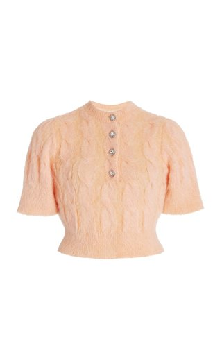 Embellished Cable-Knit Mohair-Blend Top