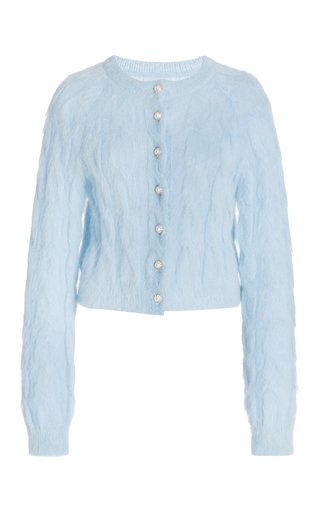 Embellished Cable-Knit Mohair-Blend Cardigan