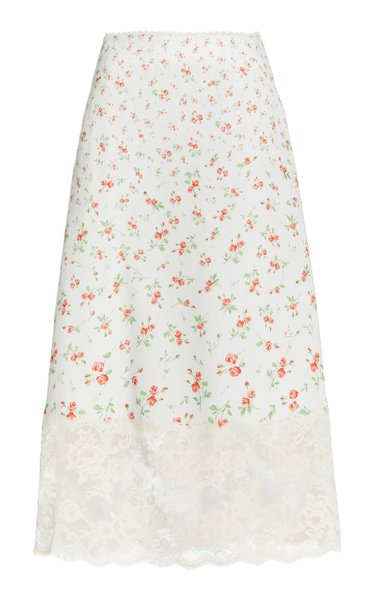Lace-Trimmed Rosebud-Print Satin Midi Skirt