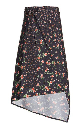 Ring-Detailed Draped Floral Stretch-Jersey Midi Skirt