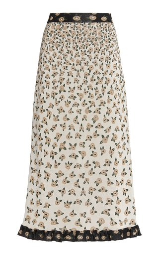 Ruffled Metallic Floral Jacquard Midi Skirt