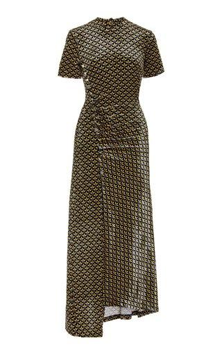 Printed Velvet Midi Dress