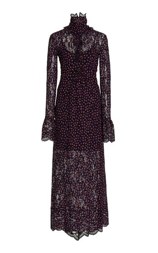Floral Stretch-Lace Maxi Dress
