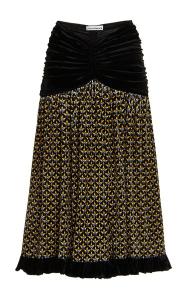 Printed Velvet Midi Skirt