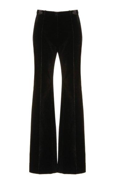 Cotton Velvet Flared-Leg Pants