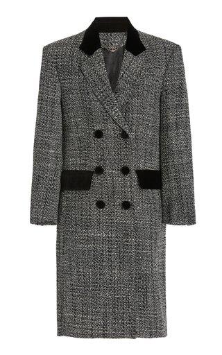 Velvet-Trimmed Wool-Blend Coat