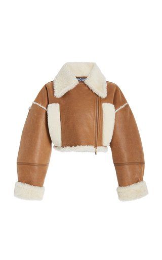Cropped Shearling-Lined Leather Jacket