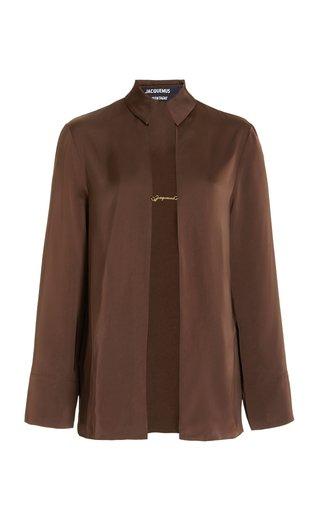 Chain-Detailed Satin Shirt Jacket