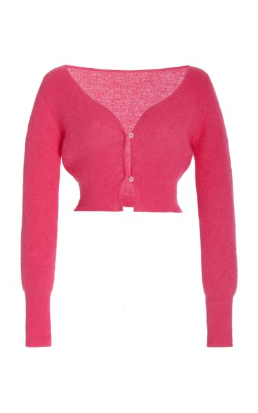 Alzou Mohair-Blend Cropped Cardigan