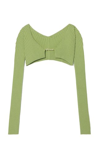 Pralù Cropped Ribbed-Knit Top