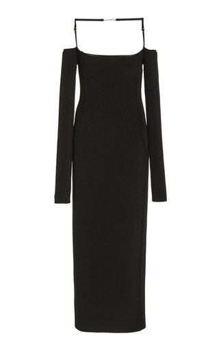 La Sierra Ribbed-Knit Off-The-Shoulder Midi Dress