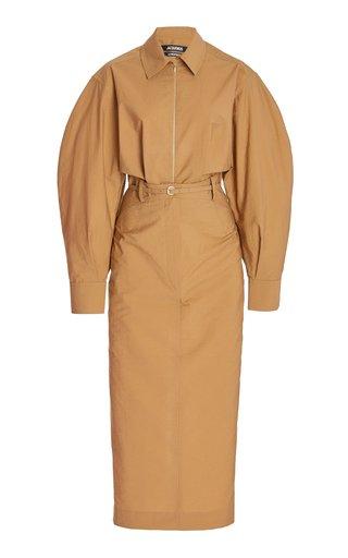 La Uzco Belted Cotton-Blend Midi Shirt Dress