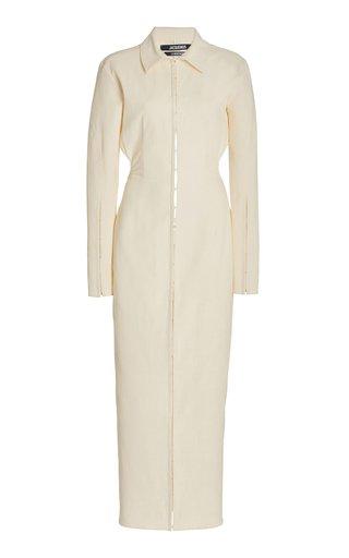 La Obiou Cutout Stretch-Jersey Maxi Shirt Dress