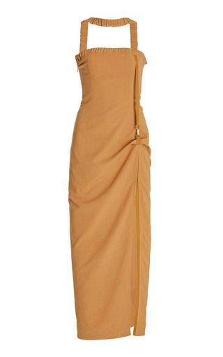 La Ventoux Draped Stretch-Jersey Maxi Dress