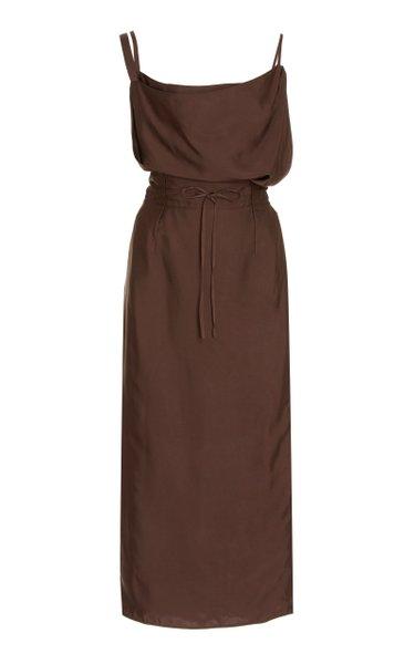 La Tablier Strap-Detailed Satin Midi Slip Dress