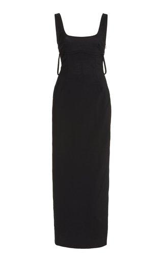 La Valdu Strap-Detailed Cutout Stretch-Wool Maxi Dress