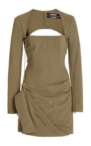 La Esca Draped Stretch-Jersey Mini Dress